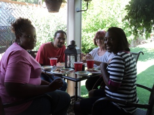 Some of the Philly team members enjoying a meal at our friend's house.
