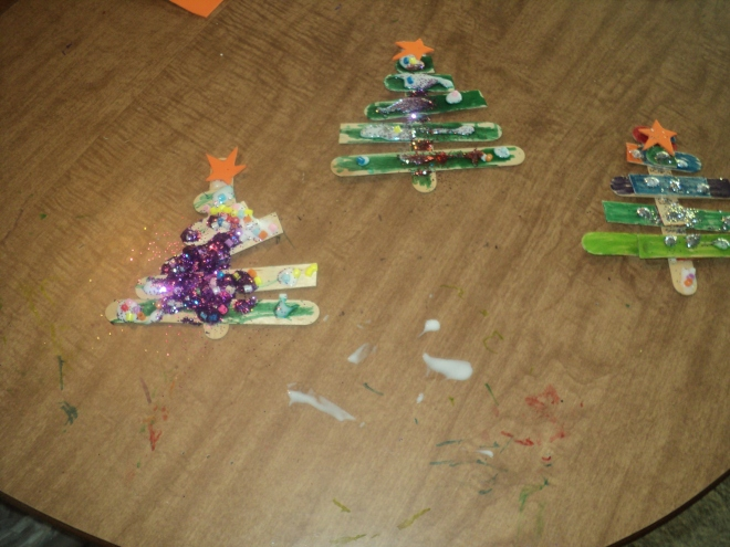 December 11:  Christmas Tree Popsicle Sticks